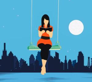 ブランコにのり本を読む女性イラスト
