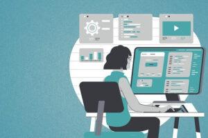 机に向かってタスク整理する女性イラスト
