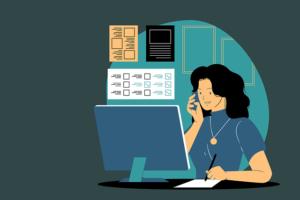 電話対応をする女性イラスト